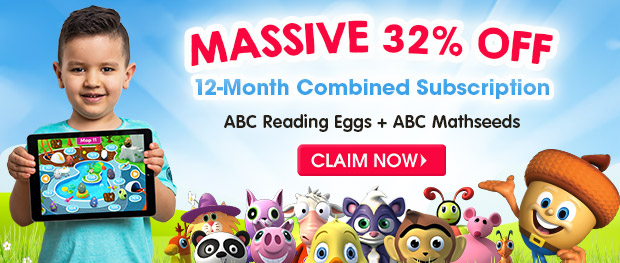 MASSIVE 32% OFF a 12 Month Combined Subscription. ABC Reading Eggs and ABC Mathseeds. Claim Now