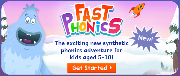 Fast Phonics, the exciting new synthetic phonics adventure for kids aged 5–10! Get started
